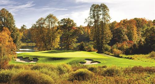 The incredible hole #17 at Deacon's Lodge, Breezy Point Resort's Arnold Palmer designed golf course.
