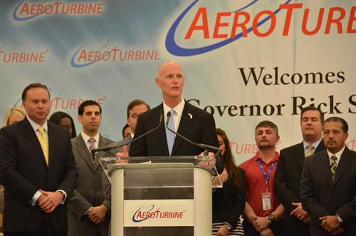 Governor Rick Scott visits Miramar Business Aeroturbine.