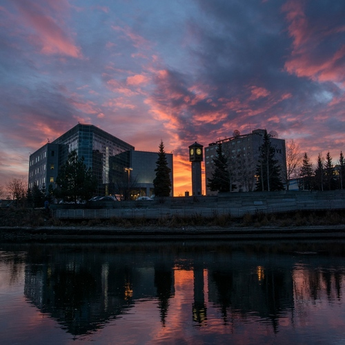 Sunrise in downtown Fairbanks