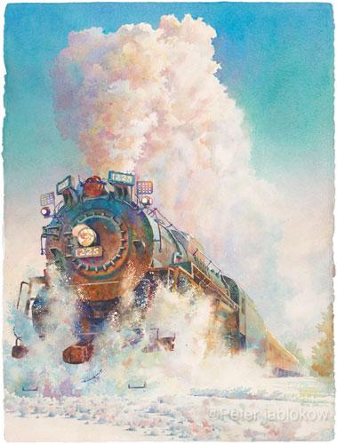 Engine 1225-Snow, watercolor
