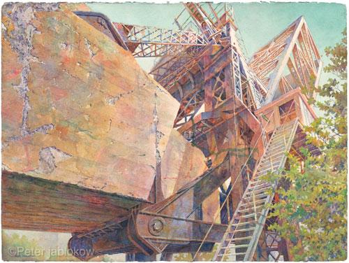 Kinzie St. Train Bridge, Chicago, watercolor