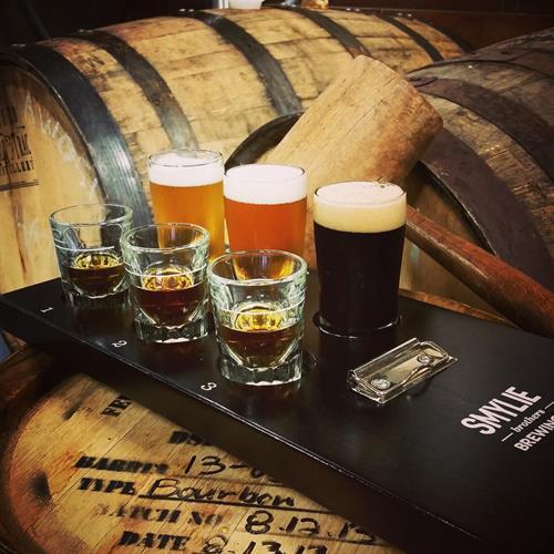 Brewer designed pairings of whiskey and beer flights