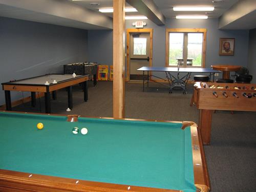 Game Room in the lower level of the Lodge