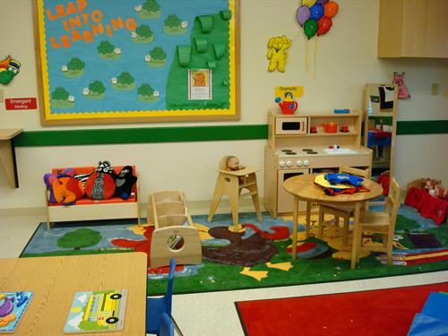 Our early preschool classrooms are cheerful and pint-sized.