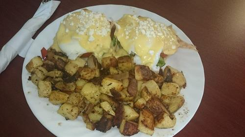 Eggs Benedict with Lance's Potatoes