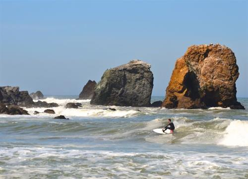 For the more experienced surfers nearby Rockaway Beach Cove is a favorite