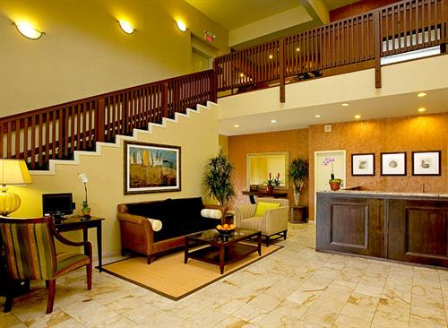 Hotel lobby where you'll find the aroma of chocolate chip cookies awaiting your arrival