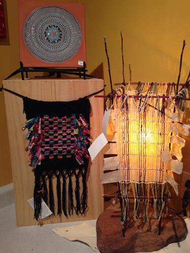 Prayer Flag, Susan Sabre. Tile, Jill Lorenz. Hand crafted woven lamp, Michele Auger.