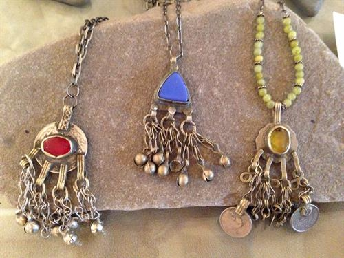 Judy Hable's handcrafted jewelry made with authentic Turkish belly dancer charms and/or animal adornment pieces (Albagas).