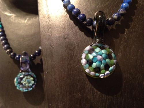 Island Glass necklaces with fine semi-precious stones by Morris Osterbauer.
