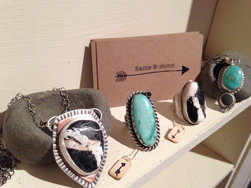 flame & stone studio at the Art Guild. Fine artisan jewelry by Hilary OQ Nelson.