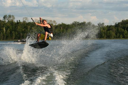 Lake is great for wake boarding.