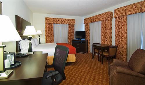 "Well decorated room with King size bed, with 40"" LCD, Micro/fridge, Iron/board, Hair Dryer."