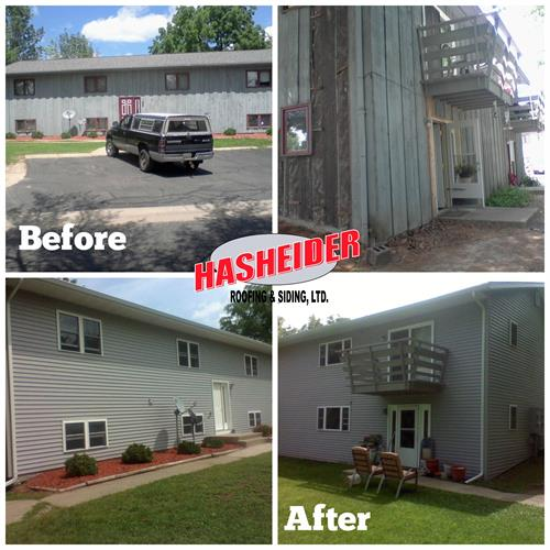 Apartment siding- before and after