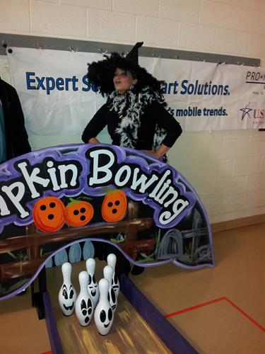 Robin at Pumpkin Bowling
