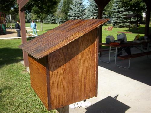 The little Free Library built by the Key Club, and installed by the Builders Club in Florence Park.