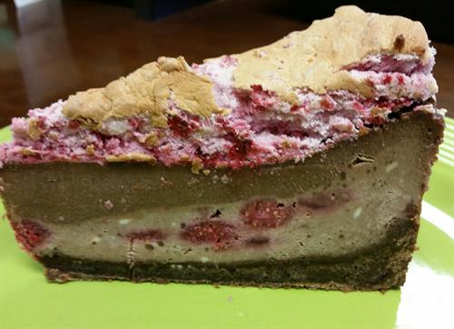 Raspberry Chocolate Cheesecake with Raspberry Meringue