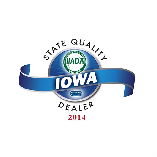 Recipient of the 2014 Iowa Independent Automobile Dealers Association QUALITY DEALER OF THE YEAR award