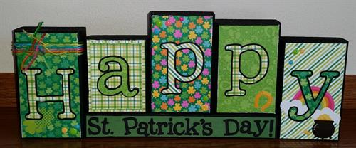 "Happy St. Patrick's Day wooden blocks; each individual block fits perfectly on any shelf, fireplace mantle, desk or kitchen island!  Each block is approximately 3.25"" wide, 1.25"" deep and vary in height."