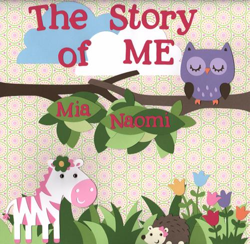 "Cover page of ""The Story of Me"" 12x12 scrapbook album; traditional baby book and scrapbook album in one!"