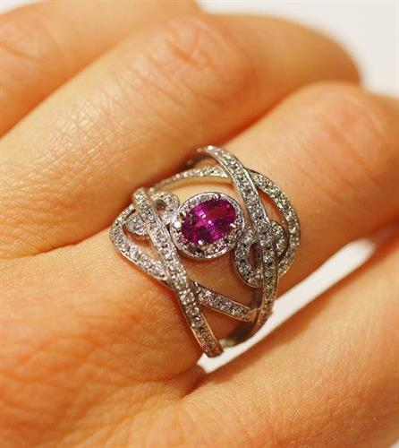 Free-form Pink Sapphire and Diamond Ring is beyond eye catching, it's bold and beautiful - one of our favorites!