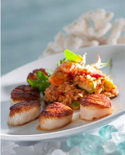 Scallops Risotto is one of Chef Harley's signature entrees.