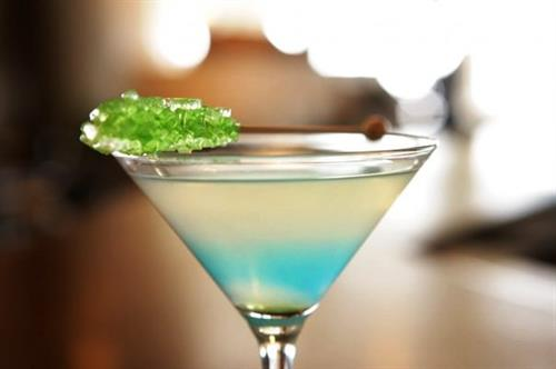 The Seaglass Signature Martini served with aqua-colored rock candy.
