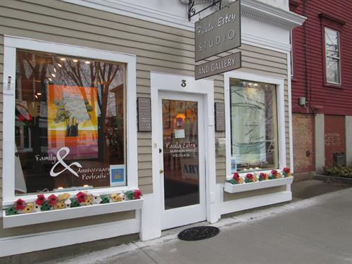 PAULA ESTEY GALLERY storefront at 3 Harris Street in Downtown Newburyport, MA
