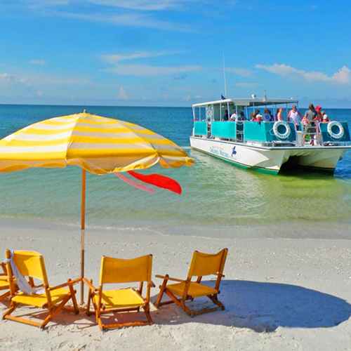 Complimentary beach chairs, umbrellas, and snorkeling equipment on the Shelling & Lunch Excursion!
