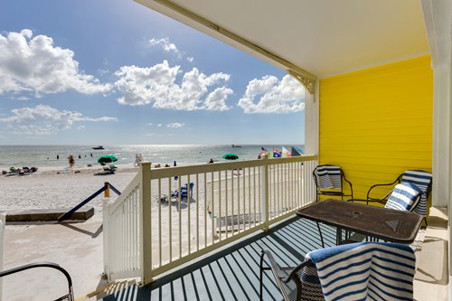 Our Ground Floor Beachfront Suites have a private patio with walk out access to Ft. Myers Beach