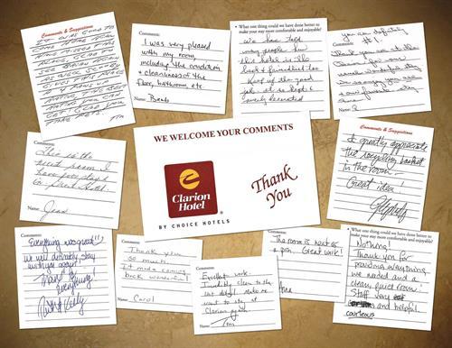 A few our guest comment cards