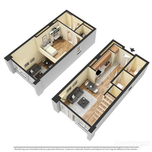 townhome / loft 3D floorplan