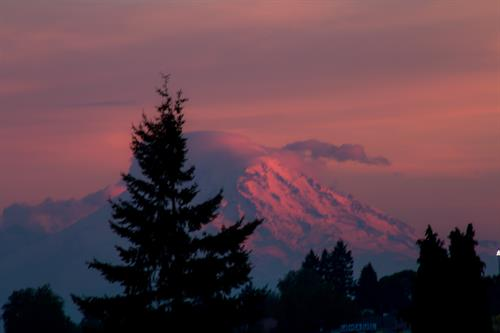 View of Mt. Rainer off Blakes rooftop lounge