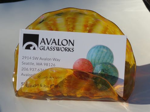 Blown glass business card holder, a gift for colleagues or employees