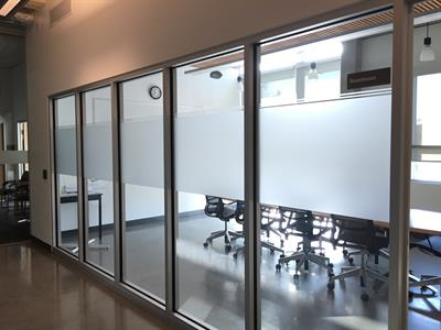 Interior glass finishes: etch-look privacy film
