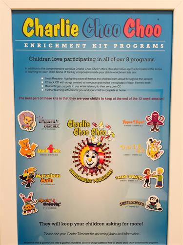Charlie Choo Choo. Our Enrichment program for all children