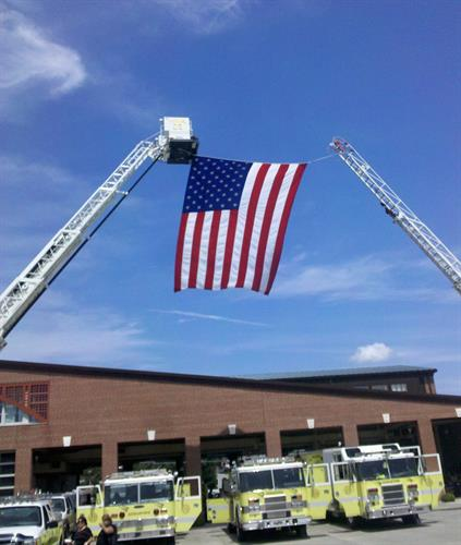 Old Glory flys proudly over the Middletown Firehall