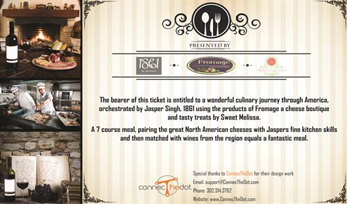 Event Ticket Design for Fromage A cheese boutique, 1861, Sweet Melissa
