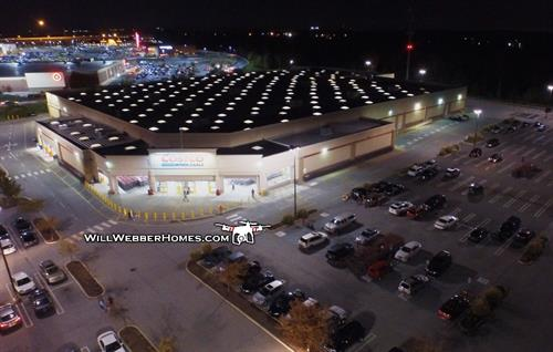 Costco at night --- DRONE view