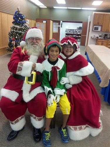 Santa, Mrs. Claus and the Elf visit Alive! Lutheran Church