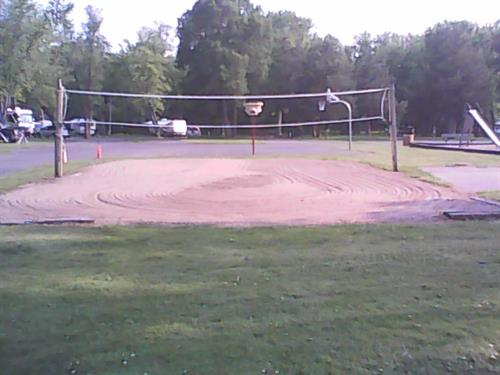 Volleyball court. We also have basketball hoop and horseshoe pit.