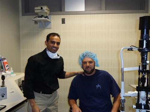 Dr. Sheel Patel and Sammy following iLASIK procedure