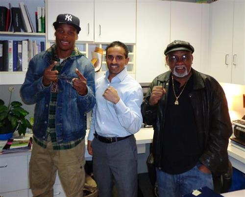 "Dr. Sheel Patel with Lamar ""The Boxing Que"" Russ and Coach Smitty"