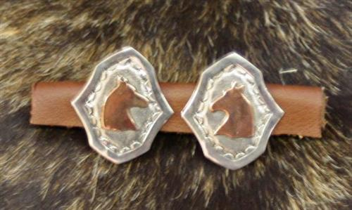 Silver bridle loops with copper overlay