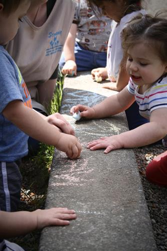 Outside + Chalk = fun