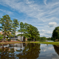 Clayton State University, lake view of James M. Baker University Center  Morrow, GA, USA; Scenic views of Clayton State University main campus