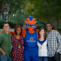 Clayton State students with mascot, Loch