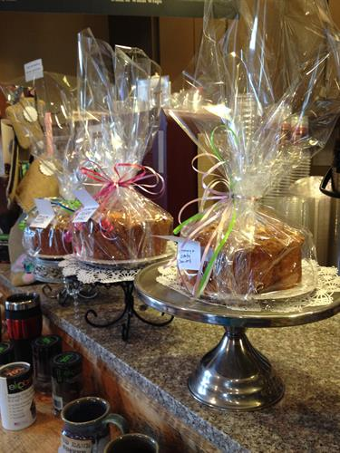 Coffee Cakes - baked fresh in our cafes! Pre-order a custom cake in one of our flavors.