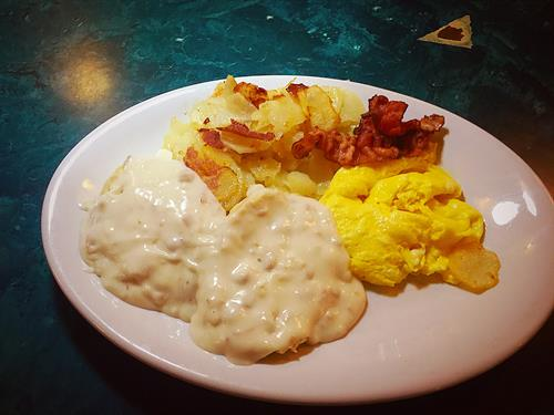 Biscuit & Gravy Combo Special with Eggs, Bacon & Potatoes