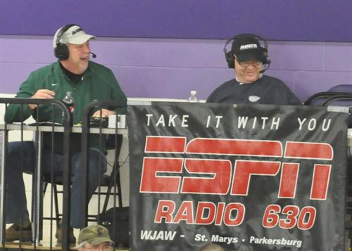 Chris Wharff & Tom Hushion broadcasting High School Basketball game on ESPN.